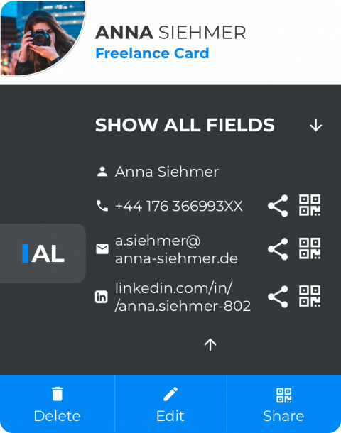 Annas Freelance Card
